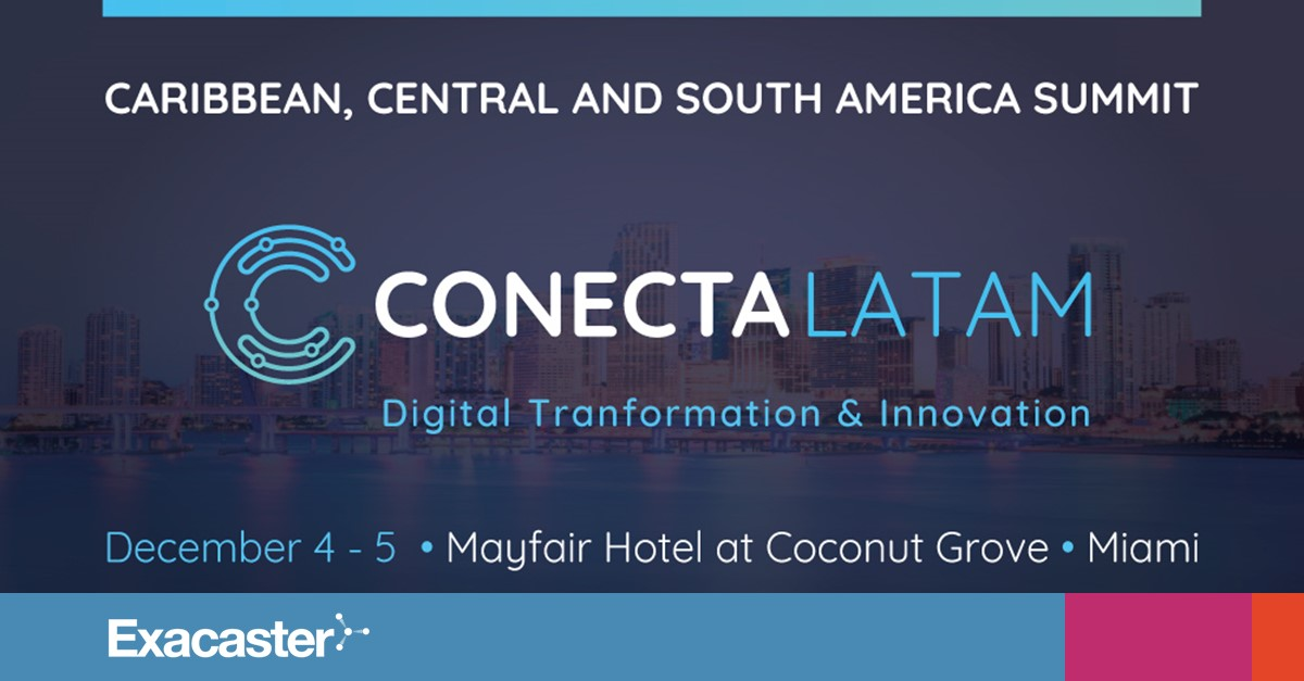 Conecta Latam Miami banner with Exacaster logo